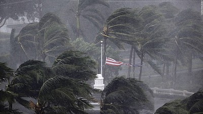 """Imaginea zilei: O călugăriţă a tăiat de una singură mai mulţi copaci rupţi de uraganul """"Irma"""""""