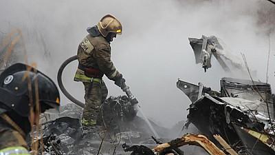 Elicopter prăbușit pe o stradă din Habarovsk. În urma impactului toți membrii echipajului au murit