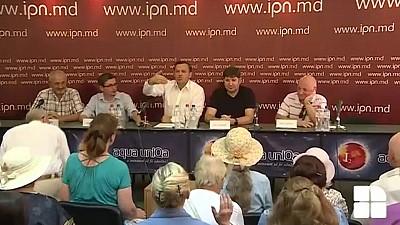SCANDAL la conferinţa de presă organizată de PPDA, PAS şi PLDM. Din ce cauză susținătorii Partidului Şor au protestat în fața lui Năstase