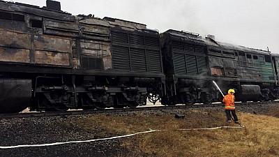 Locomotiva unui tren marfar a luat foc în raionul Ungheni. Patru echipaje de pompieri şi salvatori au intervenit la fața locului